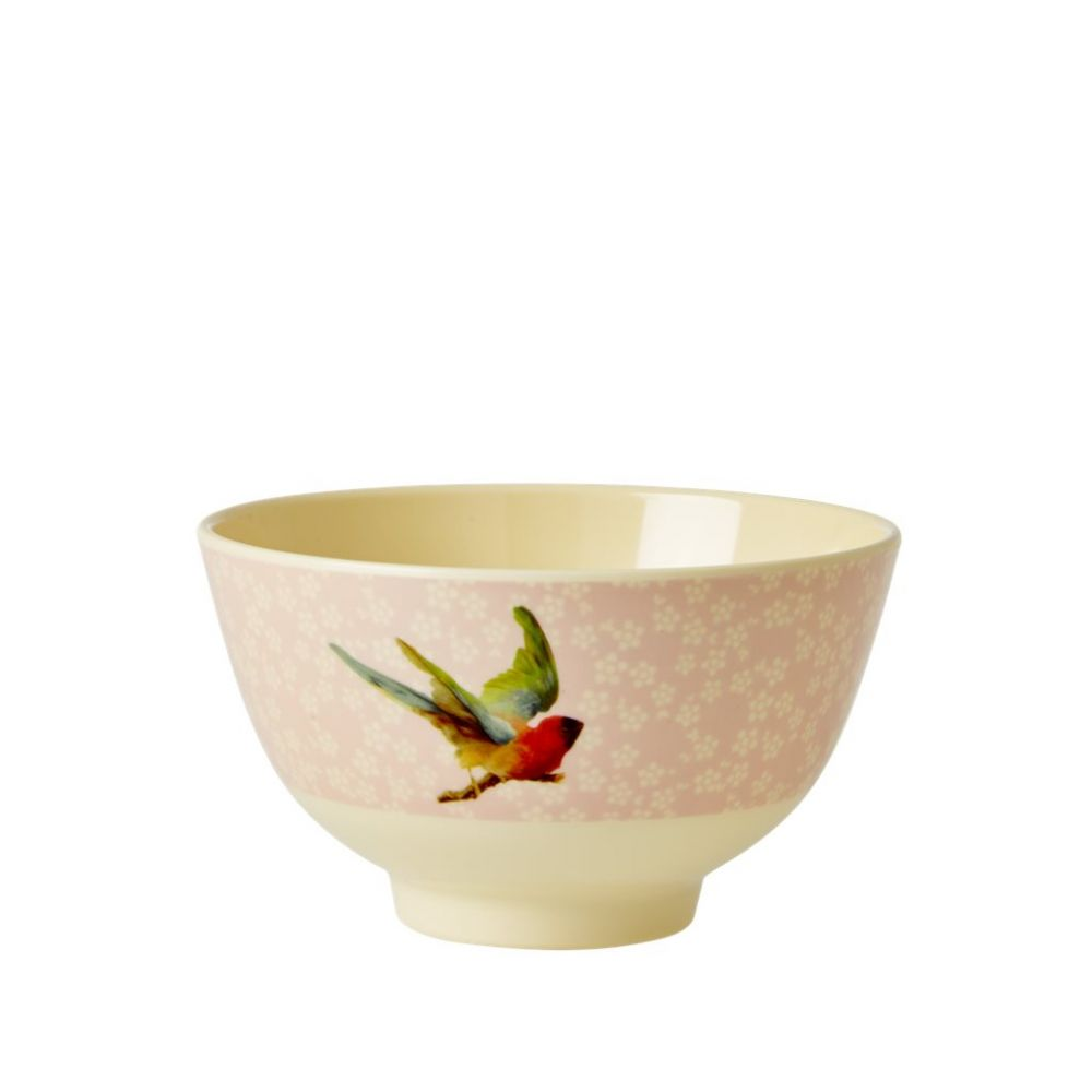 Small Melamine Bowl with Soft Pink Flower and Bird Print