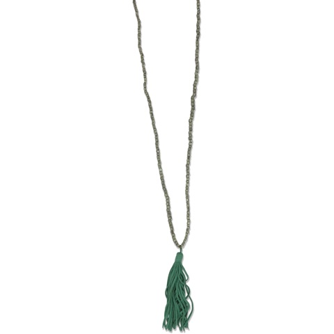 olive necklace with sea green tassel