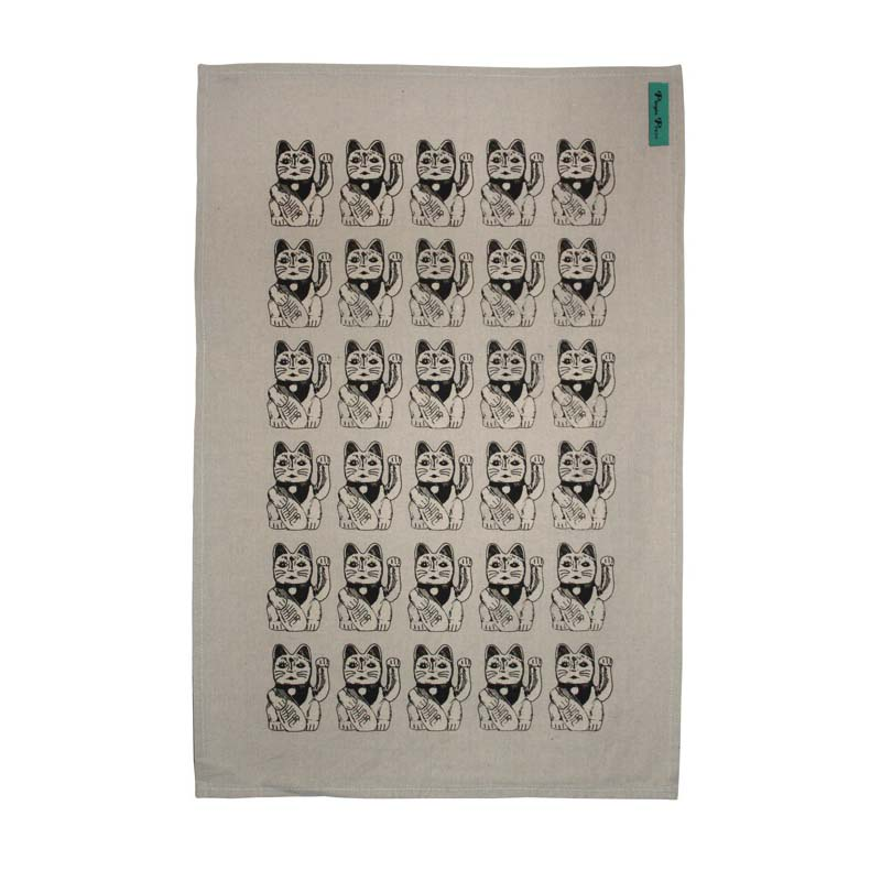 Lucky Cat black Tea towel