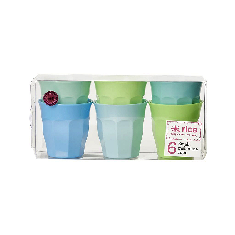 6 Small Melamine Curved Cups in Assorted Blue and Green Colors
