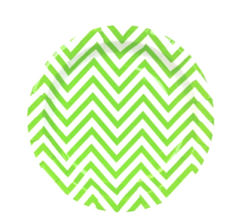 chevron paper plate - apple green