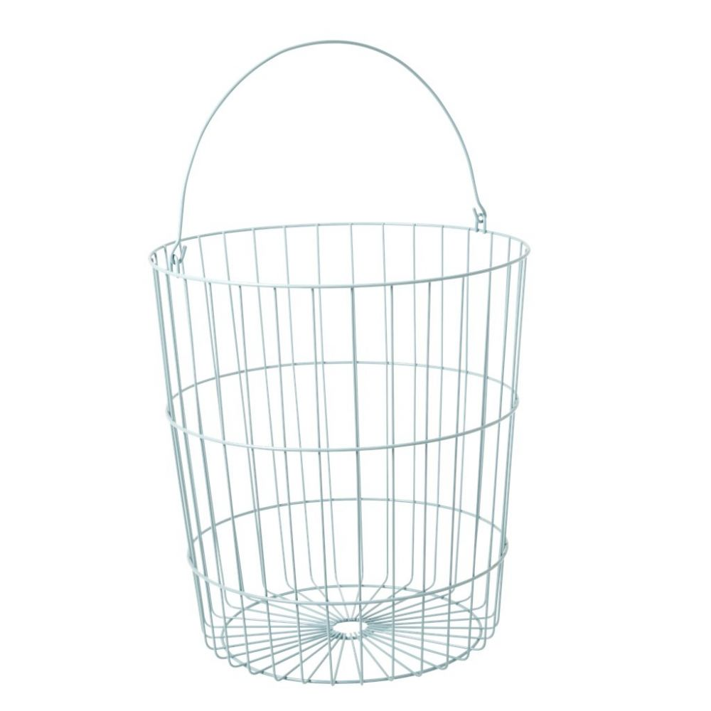 Round Wire Basket with Handle Mint
