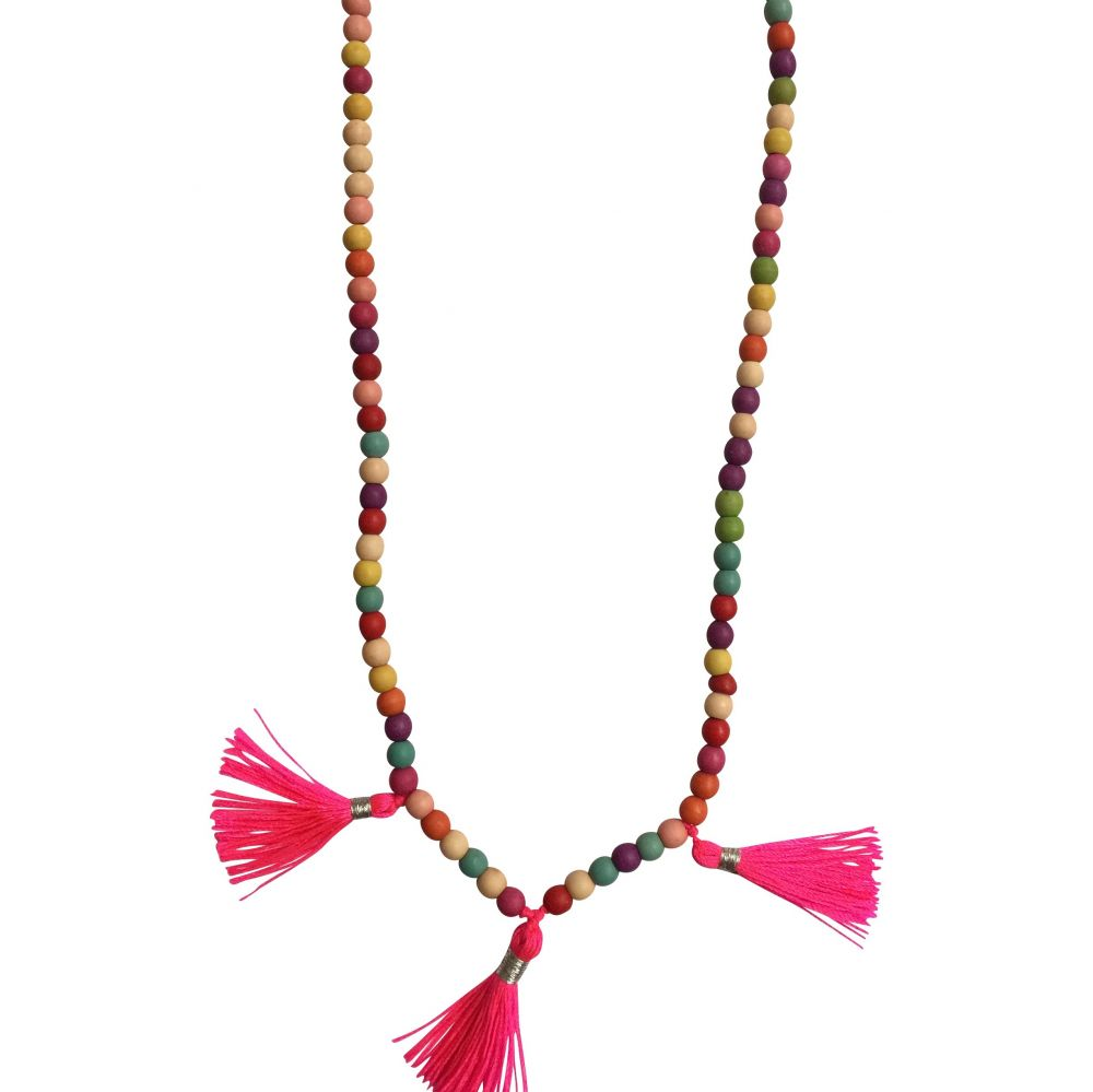 multi coloured necklace with neon tassels
