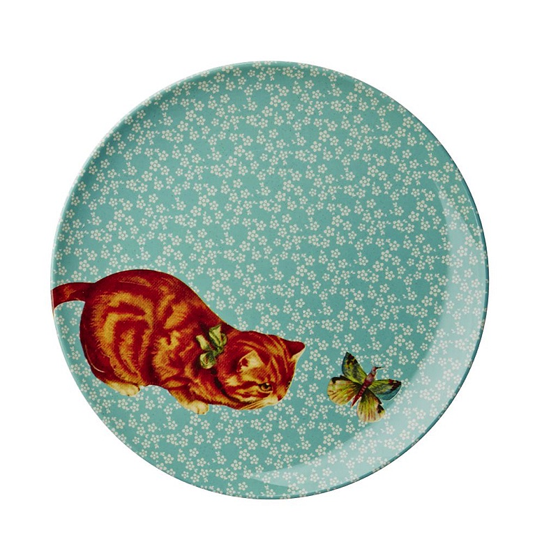 Melamine Side Plate with Turquoise Flower and Cat Print