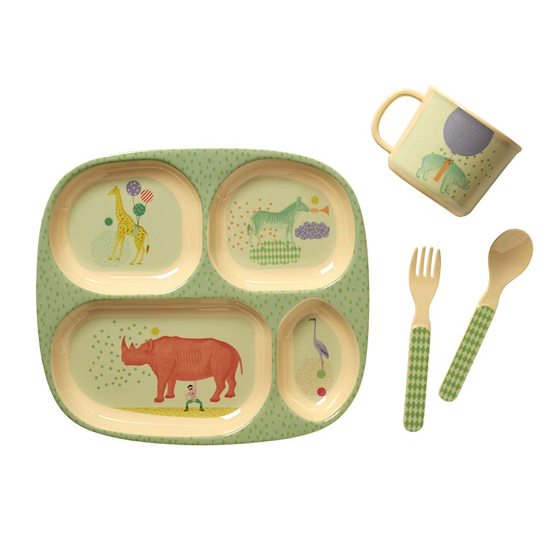 Baby 4 pcs Melamine Dinner Set in Gift Box with Boys Animal Print