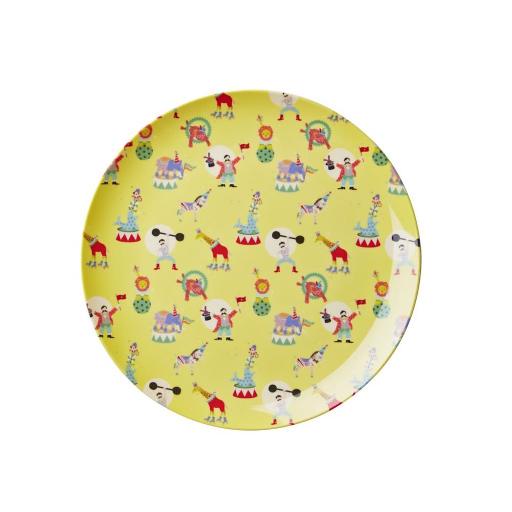 Kids Melamine Lunch Plate with Boy Circus Print - Yellow