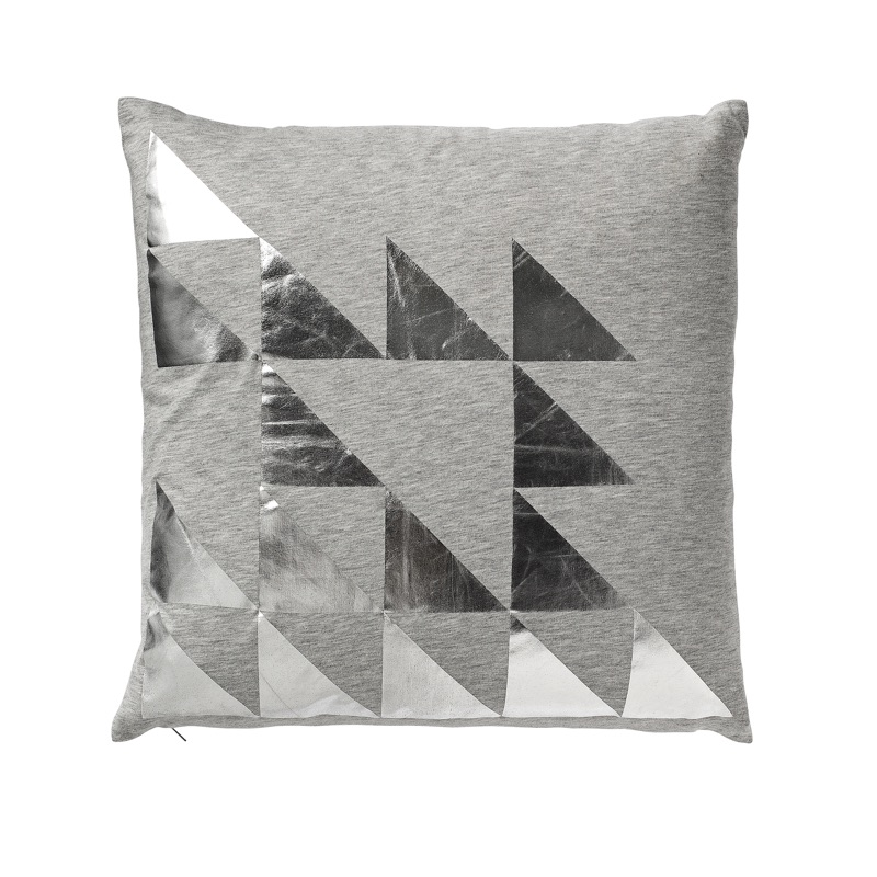 Grey w silver print cushion