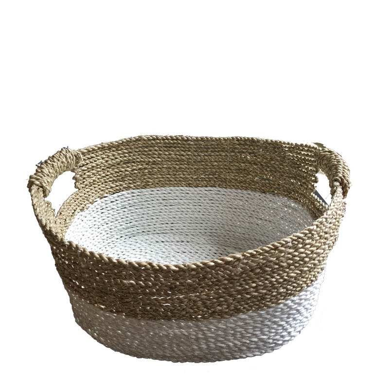 raffia oval basket  natural & white