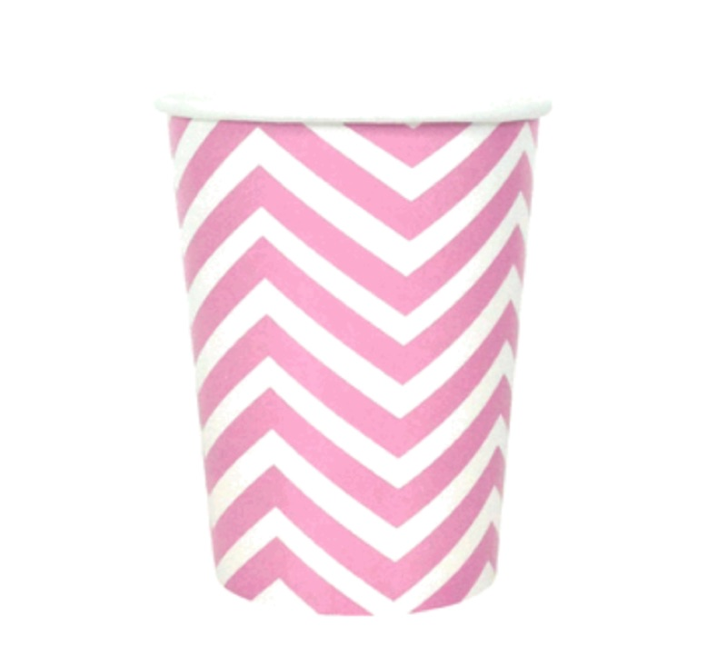 chevron paper cup - lolly pink