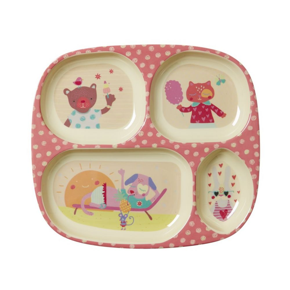 Kids 4 Room Melamine Plate with Girls Happy Camper Print