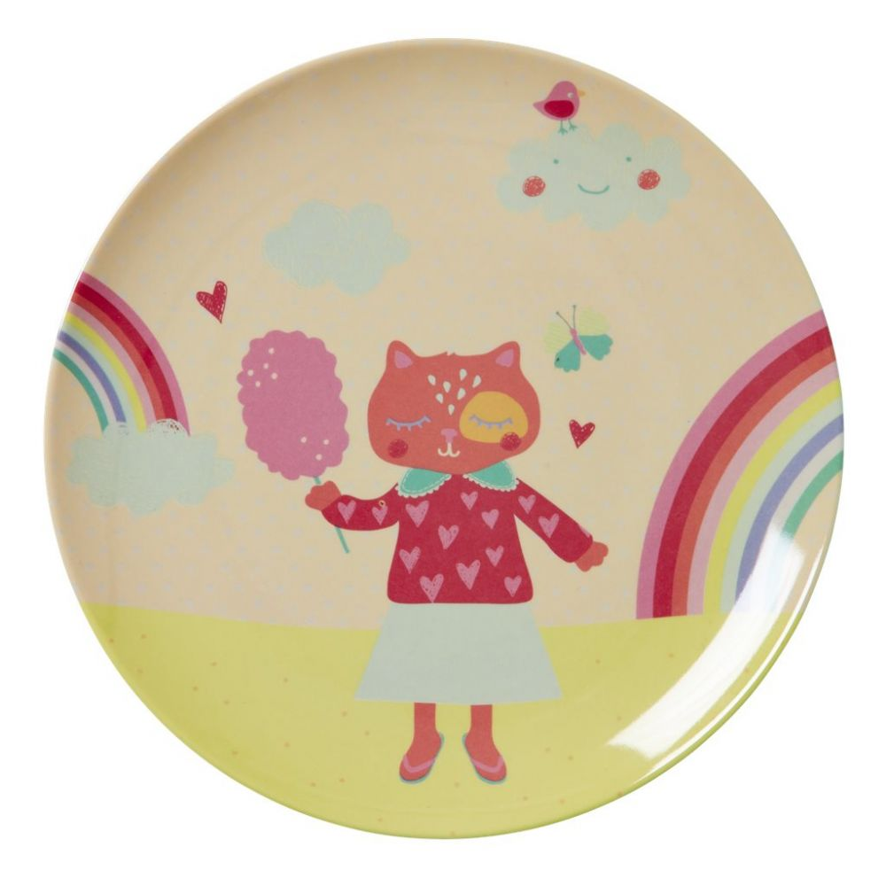 Kids Melamine Lunch Plate with Girls Happy Camper Print