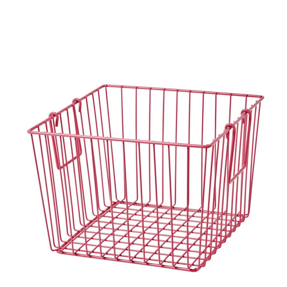 Square Wire Basket with Handle Fuchsia