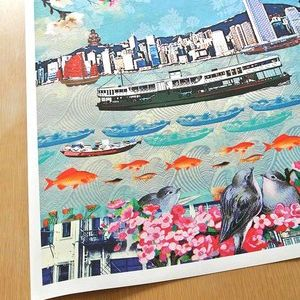 We Love Hong Kong Etching paper Unframed