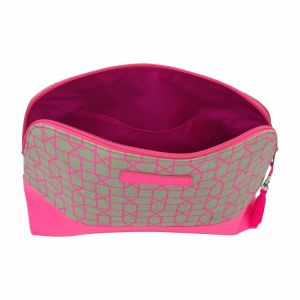 Pink geometric curved cosmetic bag