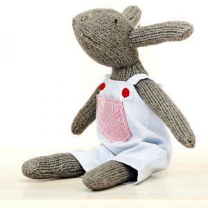 hand knitted rupert rabbit  overalls