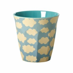 Melamine Medium Cup Two Tone with Cloud Print