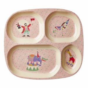 Kids 4 Room Melamine Plate with Girl Circus Print - Soft Pink