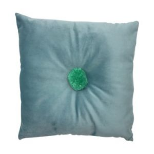 square aquamarine velvet cushion