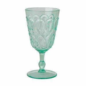 Acrylic Wine Glass with Swirly Embossed Detail - Pastel Green