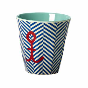 Melamine Medium Cup Two Tone with Sailor Stripe and Anchor Print