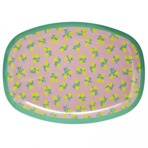 Rectangular Melamine Plate with Lemon Print