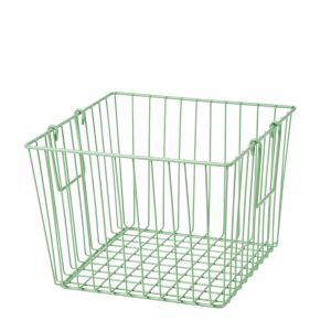Square Wire Basket with Handle Jade