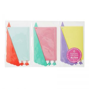 6 Mini Envelopes in Bird Shape with Card in 3 Assorted Colors