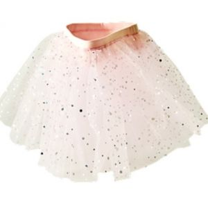 pink tulle skirt with silver dots