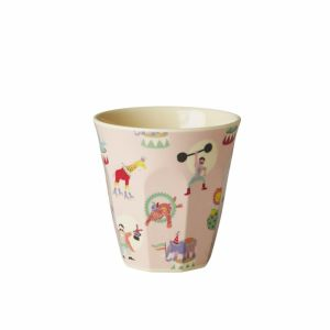 Kids Small Melamine Cup with Girl Circus Print - Soft Pink
