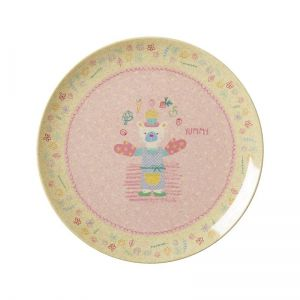 Kids Bamboo Melamine Lunch Plate with Girls Cooking Print