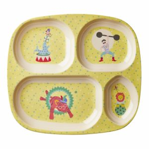 Kids 4 Room Melamine Plate with Boy Circus Print - Yellow