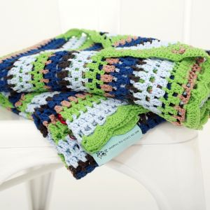 tea green hand crochet blanket