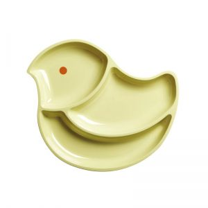 Kids 3 Room Bird Plate - Pastel Yellow