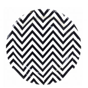 chevron paper plate - black