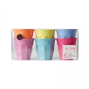 6 Small Melamine Curved Cups in Assorted 'Go For The Fun' Colors