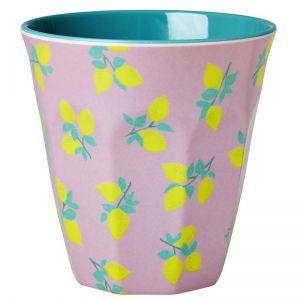 Melamine Medium Cup Two Tone Lemon Print Dusty Jade