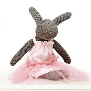 hand knitted matilda rabbit with tu tu