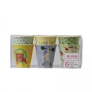 Box with 6 Small Melamine Cups in Boys Circus Prints