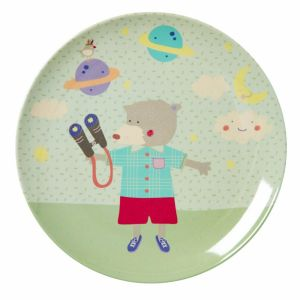 Kids Melamine Lunch Plate with Boys Happy Camper Print