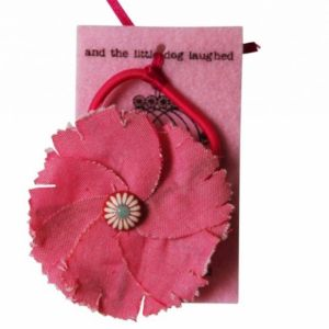 pink fabric flower hair tie