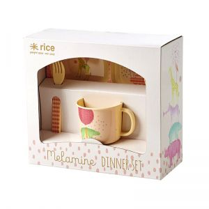 Baby 4 pcs Melamine Dinner Set in Gift Box with Girls Animal Print