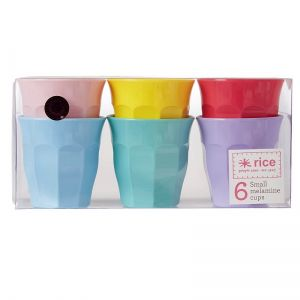 6 Small Melamine Curved Cups in Assorted 'In Color We Trust' Colors