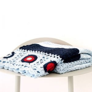 navy & red hand crochet blanket