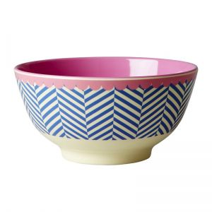 Melamine Bowl Two Tone with Sailor Stripe Print