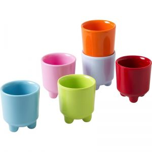 6 Melamine Egg Cups in 6 Assorted Colors