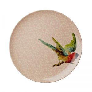 Melamine Side Plate with Soft Pink Flower and Bird Print