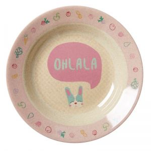 Kids Bamboo Melamine Bowl with Girls Cooking Print