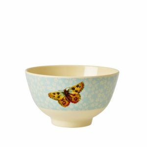 Small Melamine Bowl with Soft Blue Flower and Butterfly Print