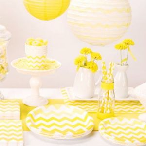 chevron paper napkins - yellow