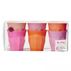 6 Medium Melamine Curved Cups in Assorted Pink and Orange Colors
